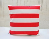 Stripe Coral White Pillow Covers. Outdoor/Indoor Pillow Cover. Waterproof Pillow Case. Beach Decor. Decorative Throw Pillow Cover.