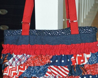 Ruffled Red White and Blue Purse
