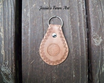 Leather Keychain - Irish Celtic Knot with Boarder. Key Fob. Key Chain. Hand Tooled Stamped