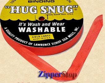 "BRIGHT RED - Hug Snug Seam Binding 100-yds Roll 1/2"" Wide  - 100% Woven-Edge Rayon - Wash 'n Wear - craft ribbon, scrapbook, gift wrap"