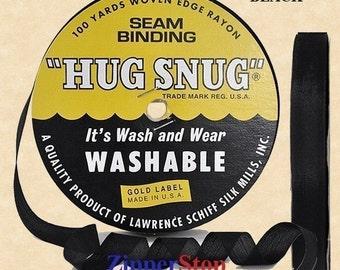 "BLACK - Hug Snug Seam Binding Ribbon - 100 yard roll 1/2"" Wide - 100% Woven-Edge Rayon - Sewing Trim & Craft Supply"