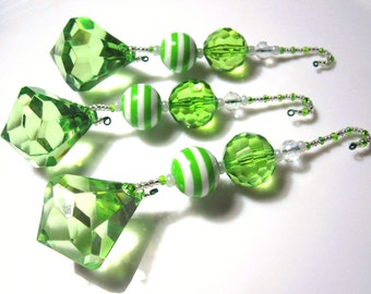 Seussical Large Lime Green Diamond Dangles Christmas Tree Ornaments - 3 Beaded  Christmas Decorations with Green and White Striped Beads