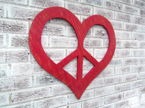 Peace Sign Bedroom Accessories: PEACE SIGN Art In A Heart Shape Large Wall Art By CutItOutJeff