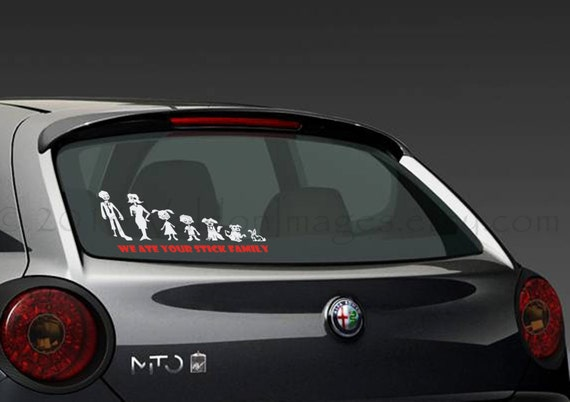 Custom Zombie Modern Stick Figure Family Car Decal Graphic - Modern car sticker decal