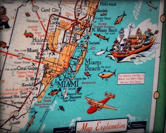 miami beach key biscayne retro beach map print funky vintage