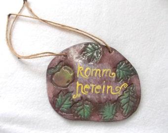 "Ceramic plate ""come on in"" (1500)"