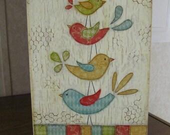 Cute Bird Family 9 x 12 Mixed Media Canvas
