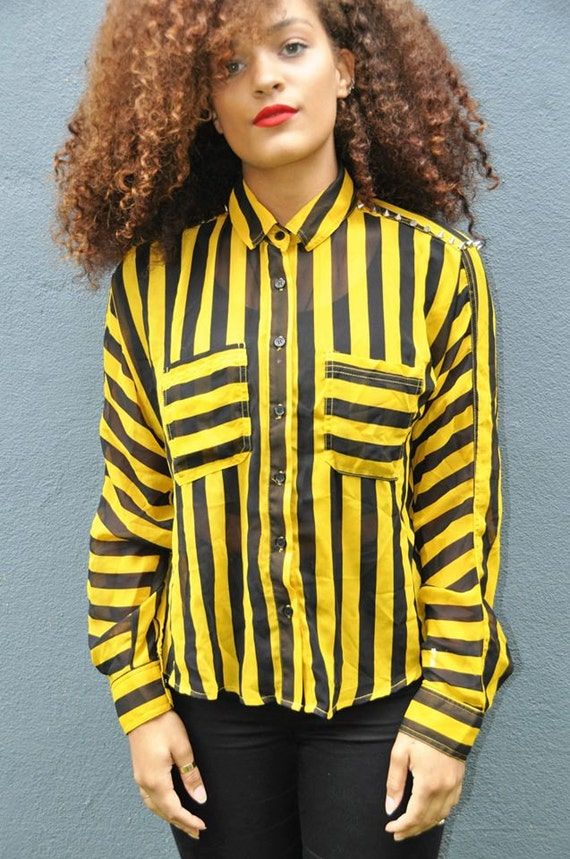 Black And Yellow Blouse 55