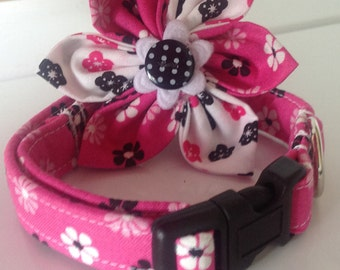 Pretty Pink Floral Flower Collar with Black & White Flower Print