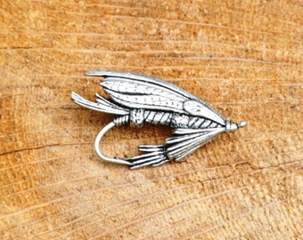 Fly Lure Pin Brooch Badge Pewter Coarse Fishing Gift