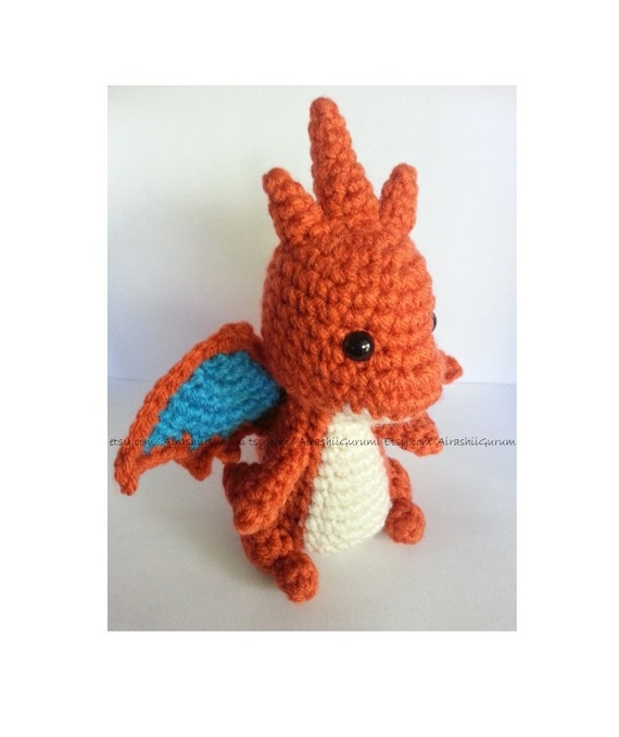 Amigurumi Pokemon Charizard : Mega Charizard Y Crochet Amigurumi Plush toy by AirashiiGurumi