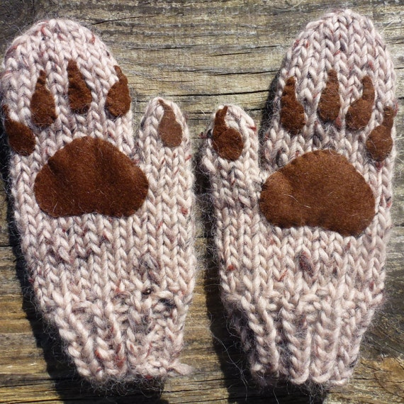 Knitting Pattern (US) for Bear Hood and Mittens (Paws) size Baby, Children, A...