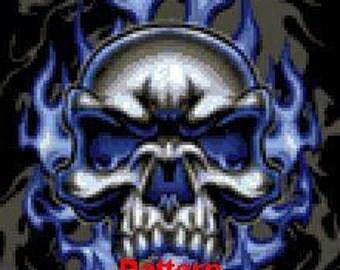Skull blue fire. Cross Stitch Pattern. PDF Files.