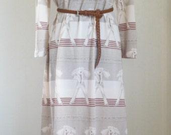 Vintage Boho print dress / Day Dress Size  L.