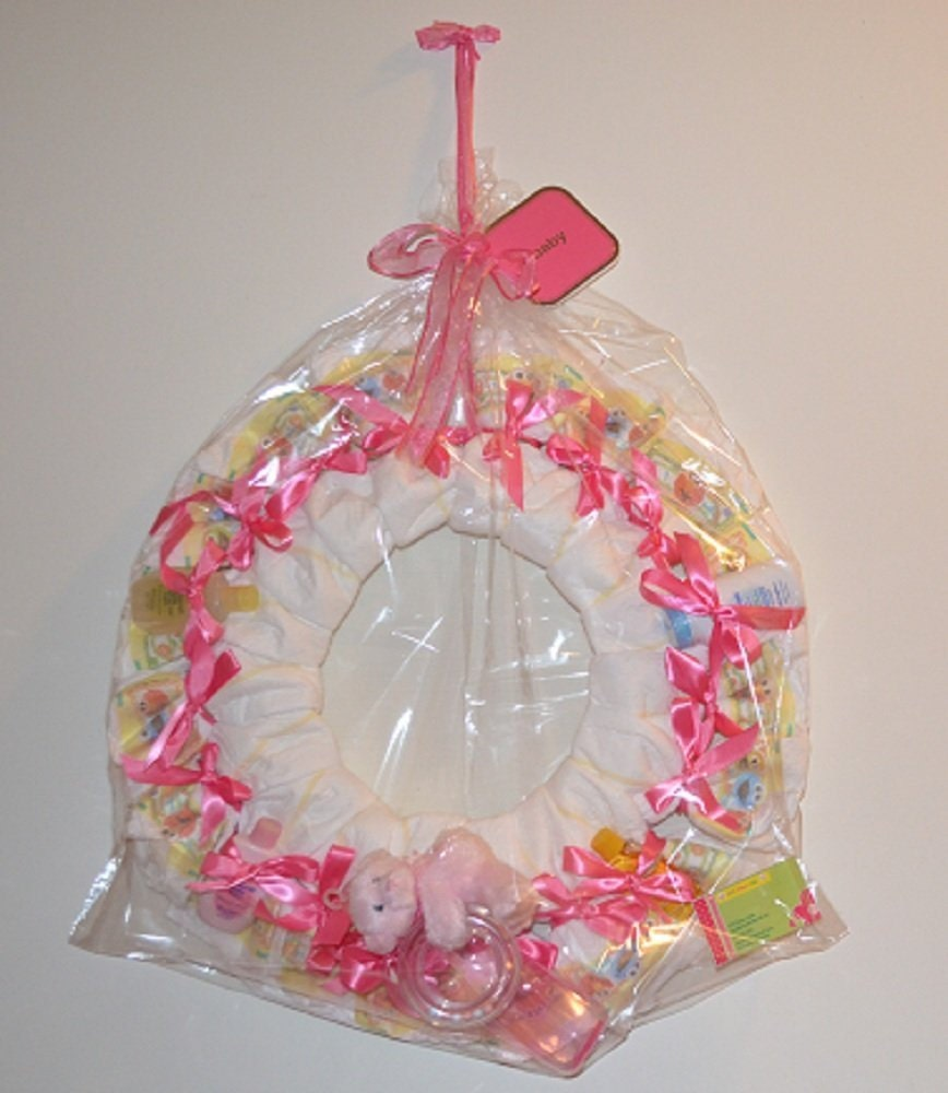 Diaper Wreath Welcome Baby New Baby Girl Diaper Cake