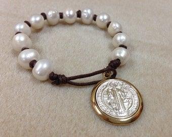 St Benedict bracelet fresh water pearls 4cm pendant AB1212