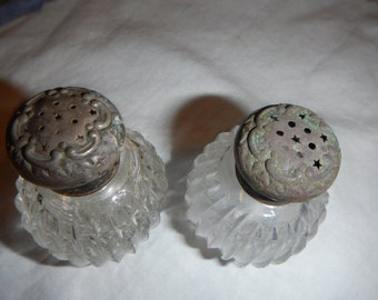 Antique Cut Glass Salt & Pepper Shakers Zipper Cut Design