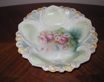 RS Prussia Serving Bowl With Reflecting Poppies and Daisies