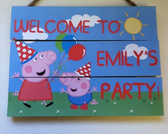 Peppa Pig Birthday Door Sign