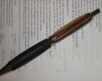FREE SHIPPING Dakota Wood Writing Pen, Exotic Wood Pen, Black Rubber Accent, Unique Pattern