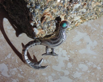 Vintage 1940's Mexican Silver Bird ~ Peacock Pin with Turquoise Eye.