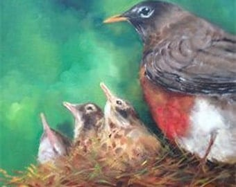 Original Robin Oil Painting