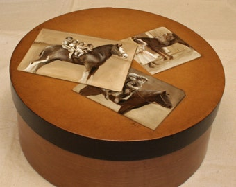Sold...Original Painting Keepsake Box. Kids and Horses. Vintage photos are really paintings on this large wooden box.