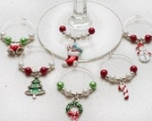 Fun, Bright Assorted Christmas Wine Charms, Set of 6, Holiday Gift