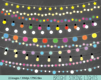 Fairy Lights Clipart, String Lights Clip Art, Christmas Lights, Colored Coloured Lights - Personal & Commercial - BUY 2 GET 1 FREE!