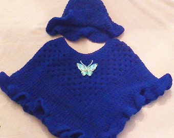 Springtime Poncho and Hat Set- Royal Blue with Butterfly Accent