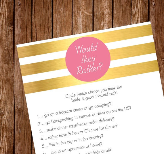 Printable Bridal Shower Party Game Would They Rather