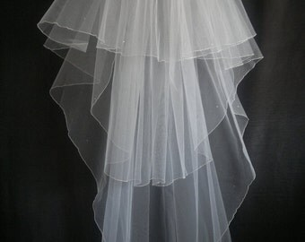 White Wedding Veil, Three Layers,Swarovski Crystals