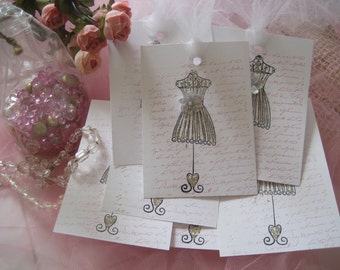 Adorable HANDMADE Gift TagS DRESS Form Glitter TULLE  5
