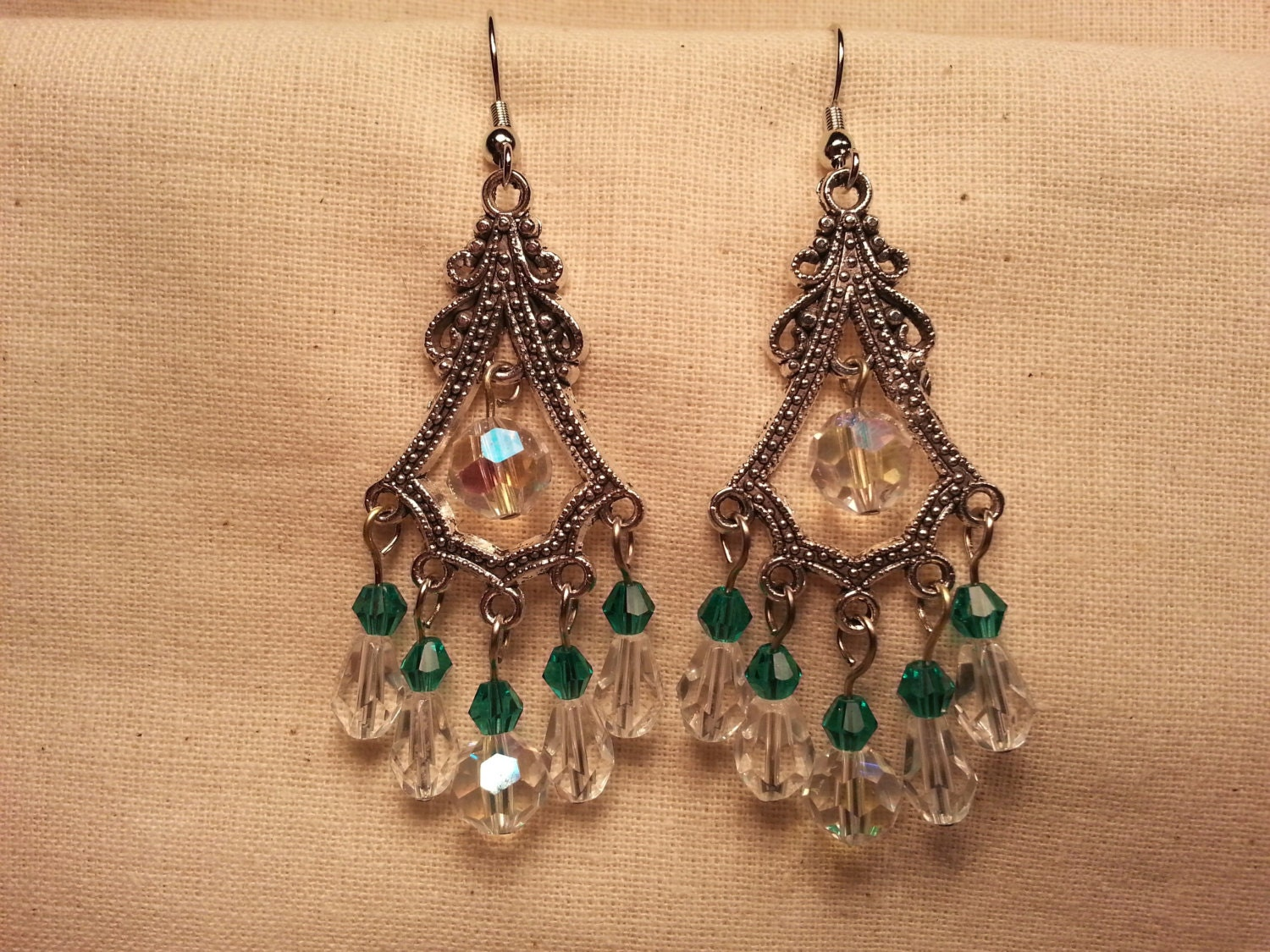 Chandelier Earrings of Green and Crystal Glass by ...