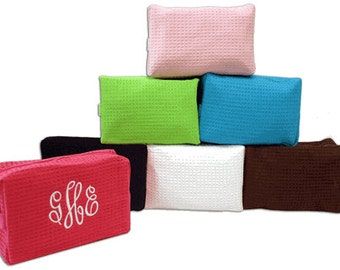 Personalized Waffle cosmetic bags for Bridesmaid set of 12