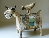 "ceramic sculpture "" cow with a bird""  - made to order"