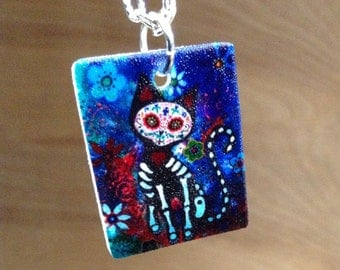 Day of the Dead Cat- Sugar Skull Cat-18inch to 30inch chain included