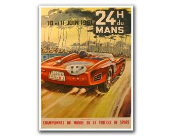 Race Car Poster Auto Racing Vintage Motor Sport Art Print (H28)