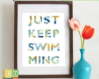 Watercolor Just keep swimming Print, Watercolor silhouettes, Fish, Nemo, Beach theme, Nursery Print, Ocean print, Under the Sea, Item  WC006