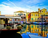 Venice photography, Venice steet, reflection, blue sky, colorful old buildings, travel photography, wall art, beautiful home decor
