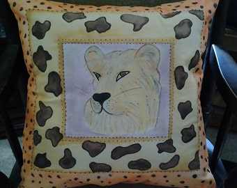 Hand Painted Lioness Pillow...Large, Overstuffed, Exotic, Out of Africa.... Depicting a Lion's Head in Vibrant Colors with Removable Insert