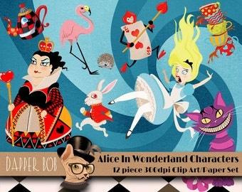 Alice in Wonderland Clip Art and Digital Paper Bundle Set for Scrap-booking and Paper Craft
