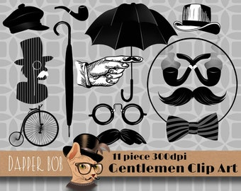 Set of 11 Digital Clip Art Gentleman Elements for Scrap-booking and Paper Craft