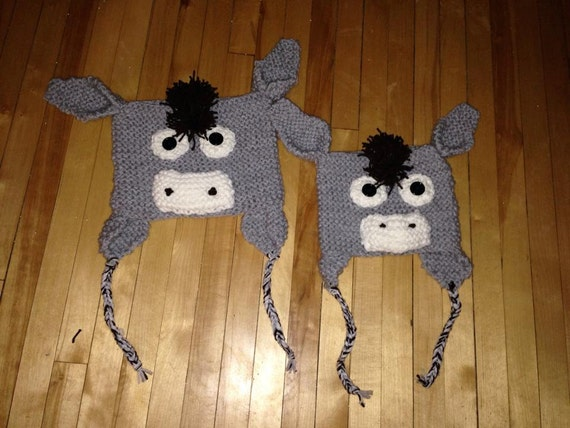 Knitting Pattern For Donkey Hat : Items similar to Donkey Hat Flat Knit Pattern sizes ...