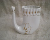 Vintage white porcelain mug pipe souvenir with golden color ornaments soviet USSR era 1970s porcelain decor vase