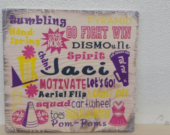 "12""x12"" Wooden Rustic-Style Cheer Sign"
