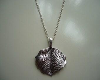 Leaf Necklace - Antique Silver Leaf Necklace - Leaf Pendant Charm Necklace - Leaf Necklace- Large Leaf- Nickel Free