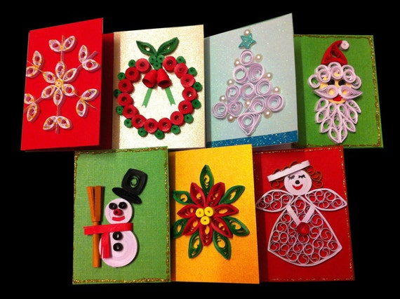 Quilling / Paper Quilling /Set of 5 quilled gift tags/ Quilled Christmas gift tags/ Christmas Cards