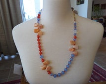 A Day at The Beach Necklace - Beautiful Banded Agate, Mexican Fire Opal Cats Eye and Chalcedony