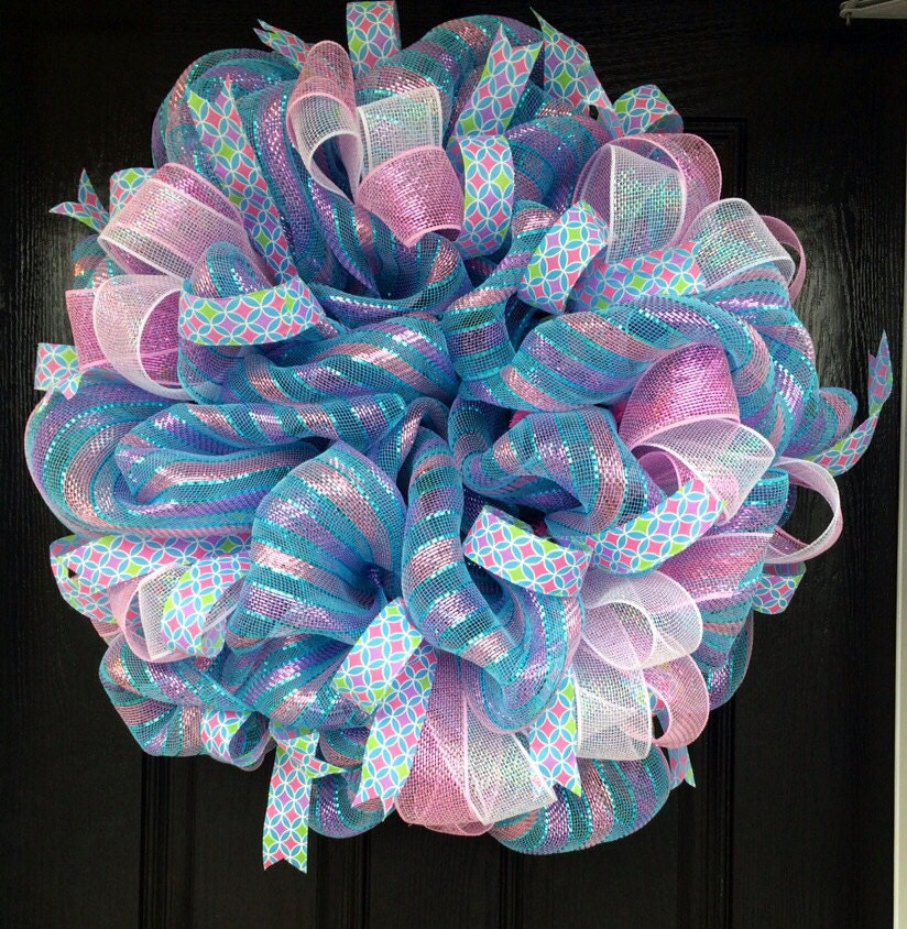 pink and blue baby shower wreathgender reveal party wreath